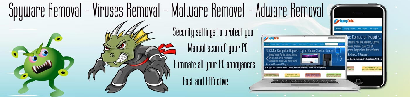 Virus, Spyware. Malware and Scareware Removal